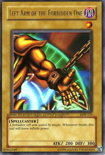 printable yugioh cards left arm of the forbidden one